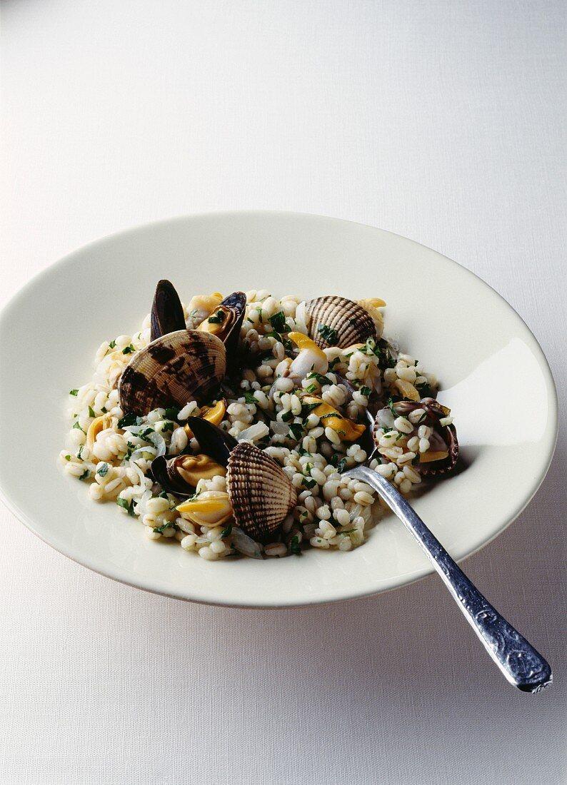 Pearl barley and shellfish risotto