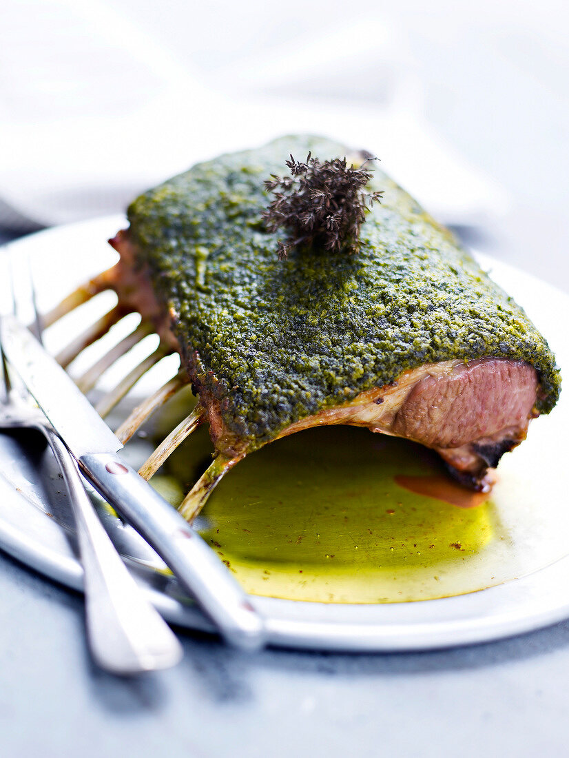 Loin of lamb with herb crust