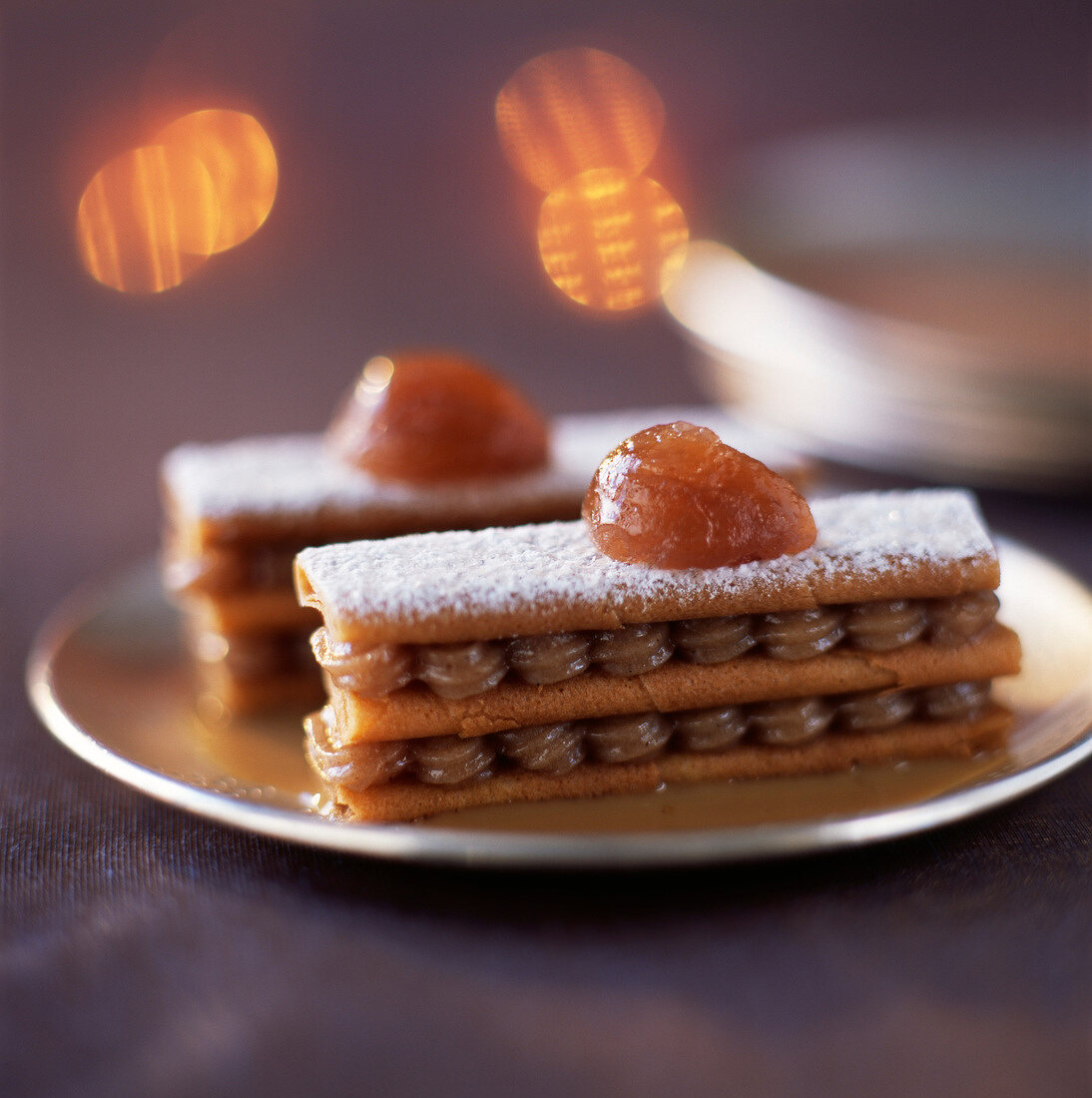 Gavotte and chestnut cream mille-feuille with coffee custard
