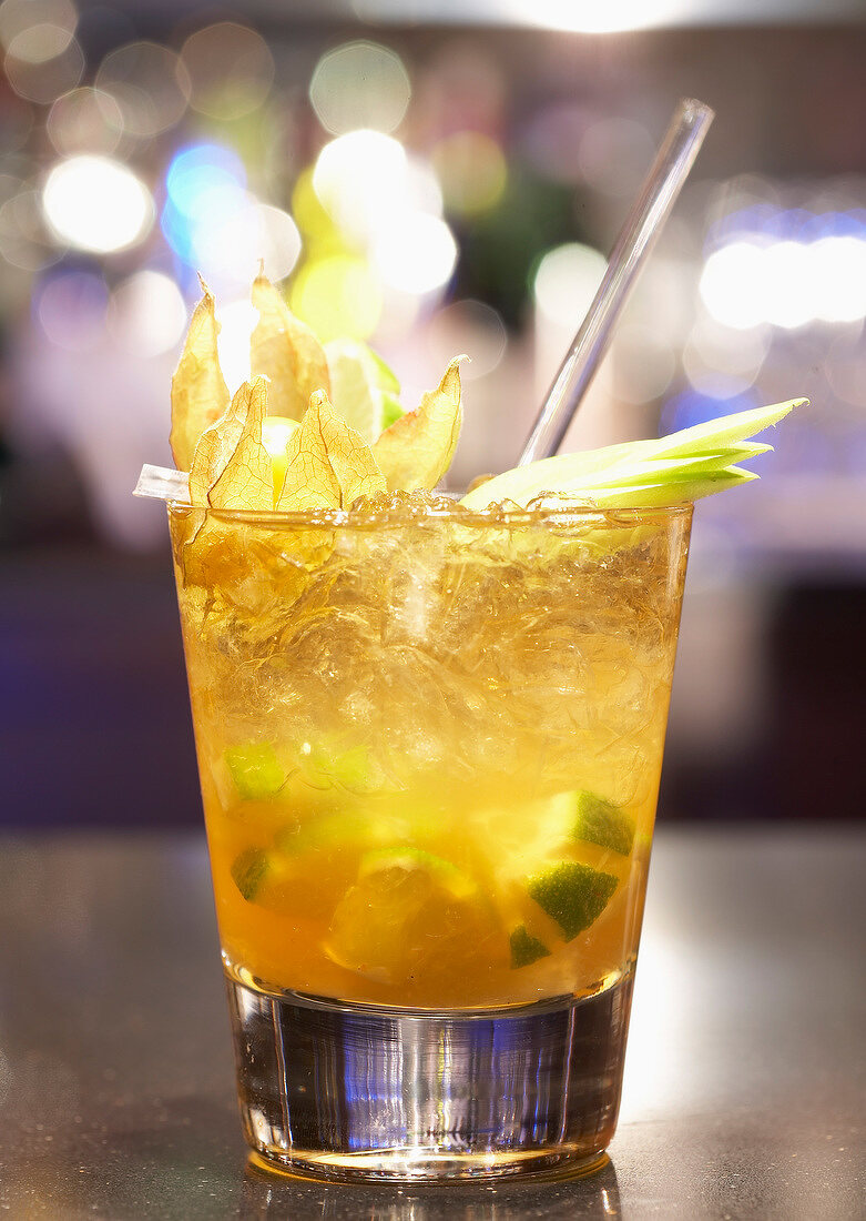 Physalis and lime cocktail