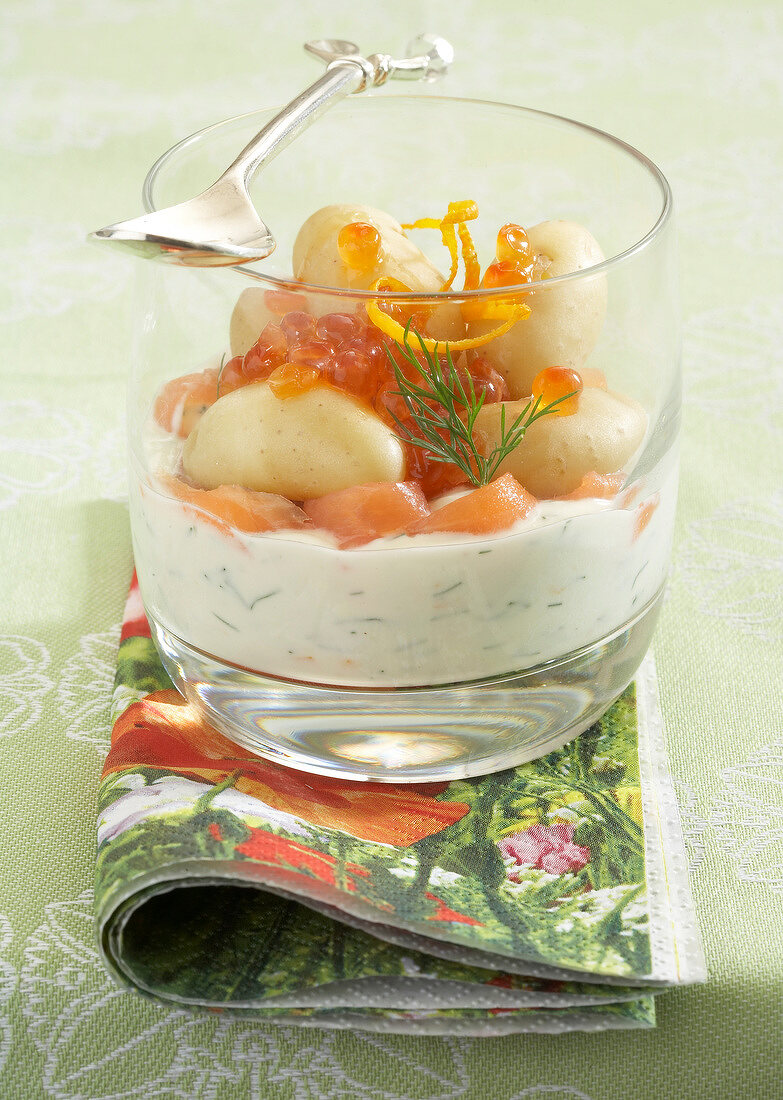 Fromage blanc with dill, smoked salmon and Touquet Ratte potato Verrine