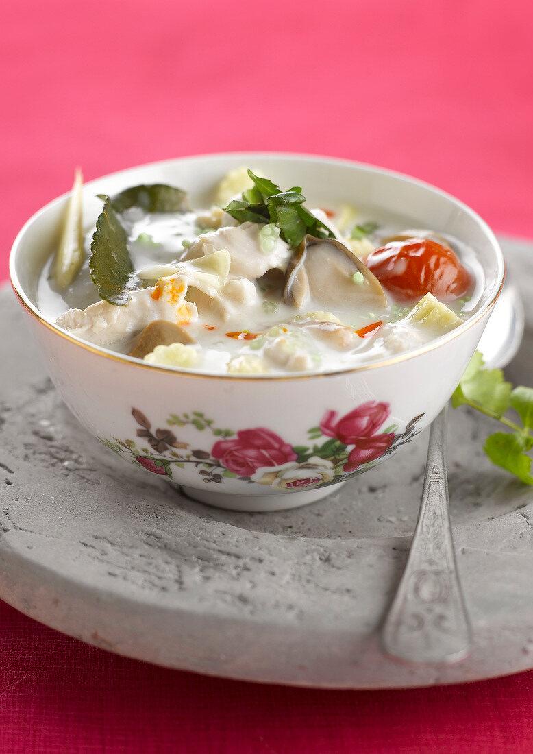 """Tom ka kai; chicken, galangal and coconut milk soup"""