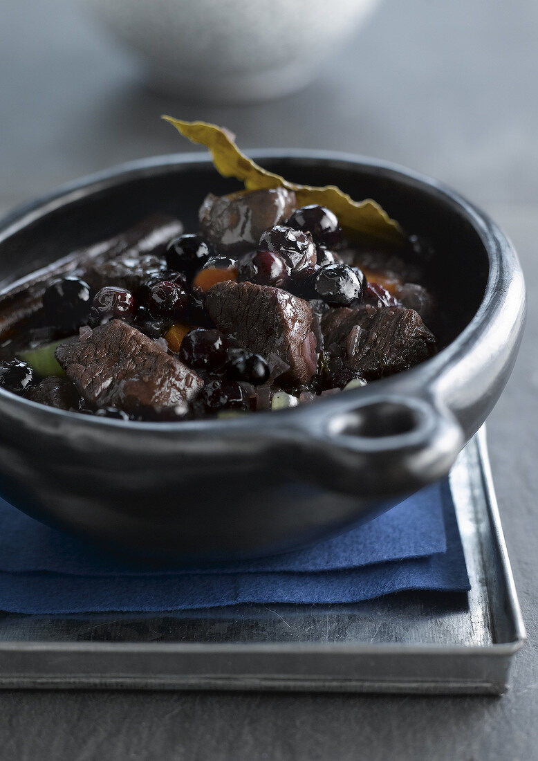 Wild boar and bilberry stew
