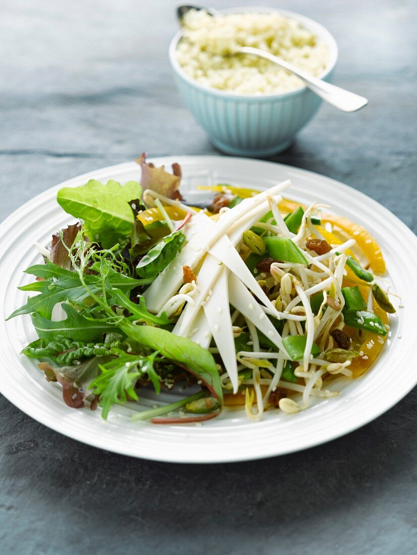 Crisp mixed salad with tofu cheese
