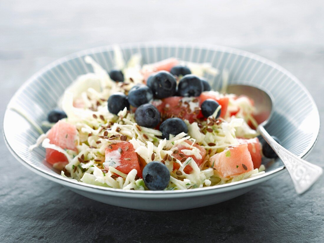 White cabbage, watermelon and bilberry salad