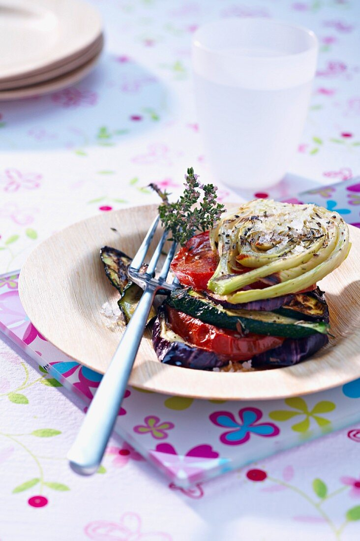 Grilled vegetable layer