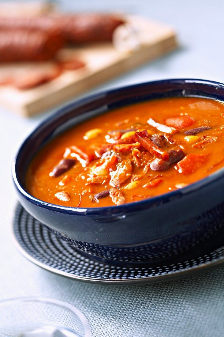 Red kidney and chorizo soup