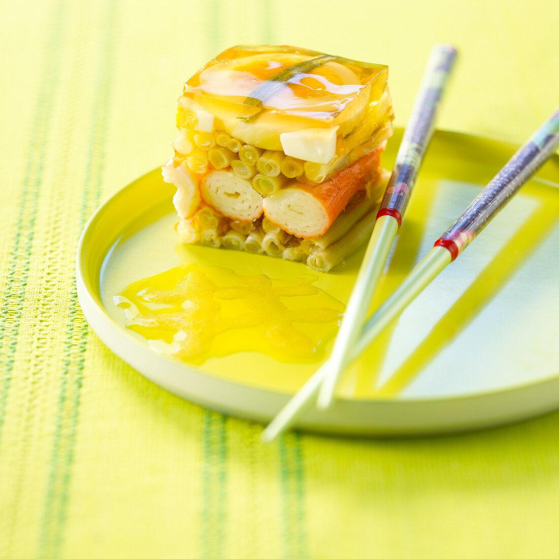 Vegetable and surimi crab aspic terrine