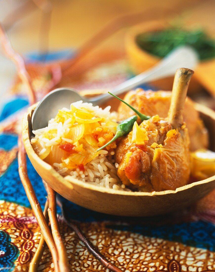 Chicken Yassa and white rice