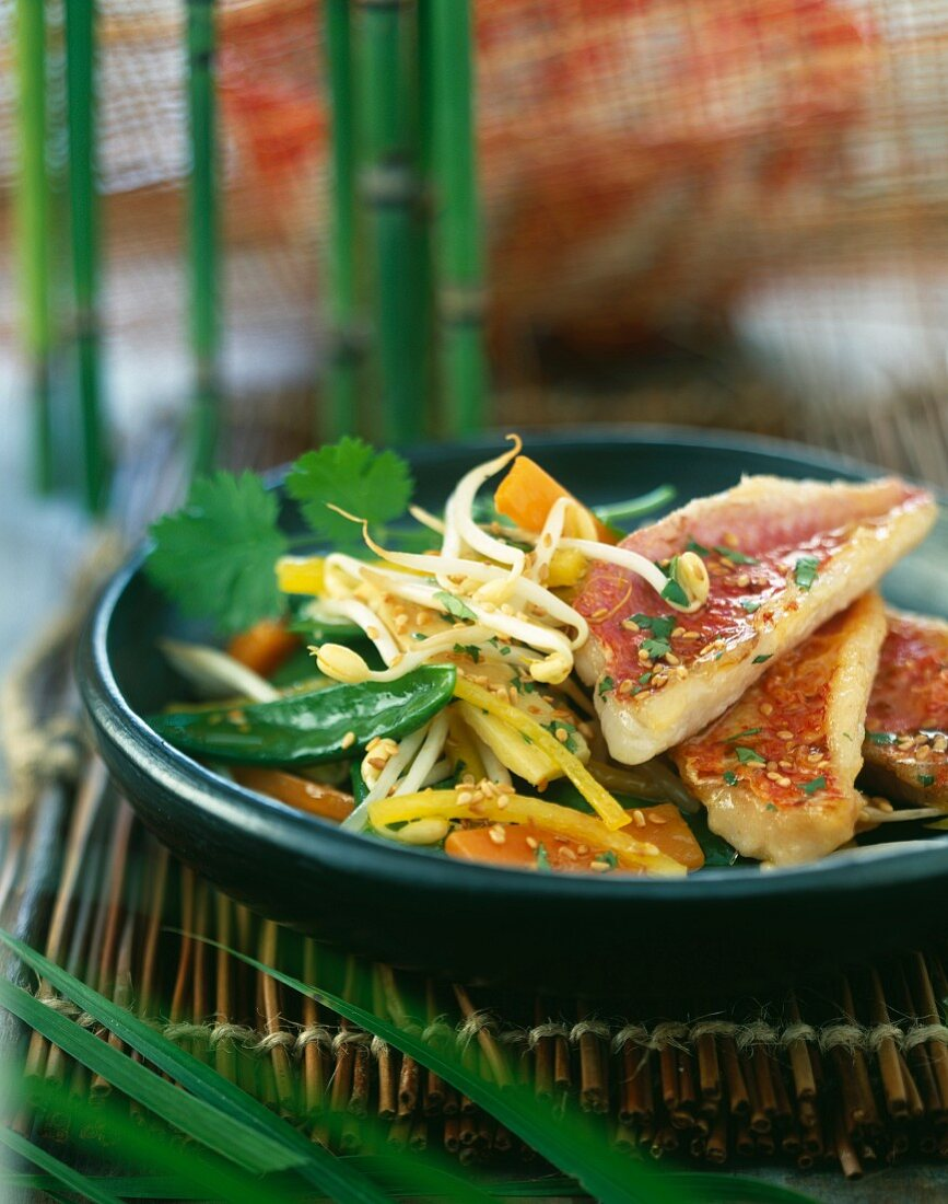 Asian-style marinated red mullet fillets