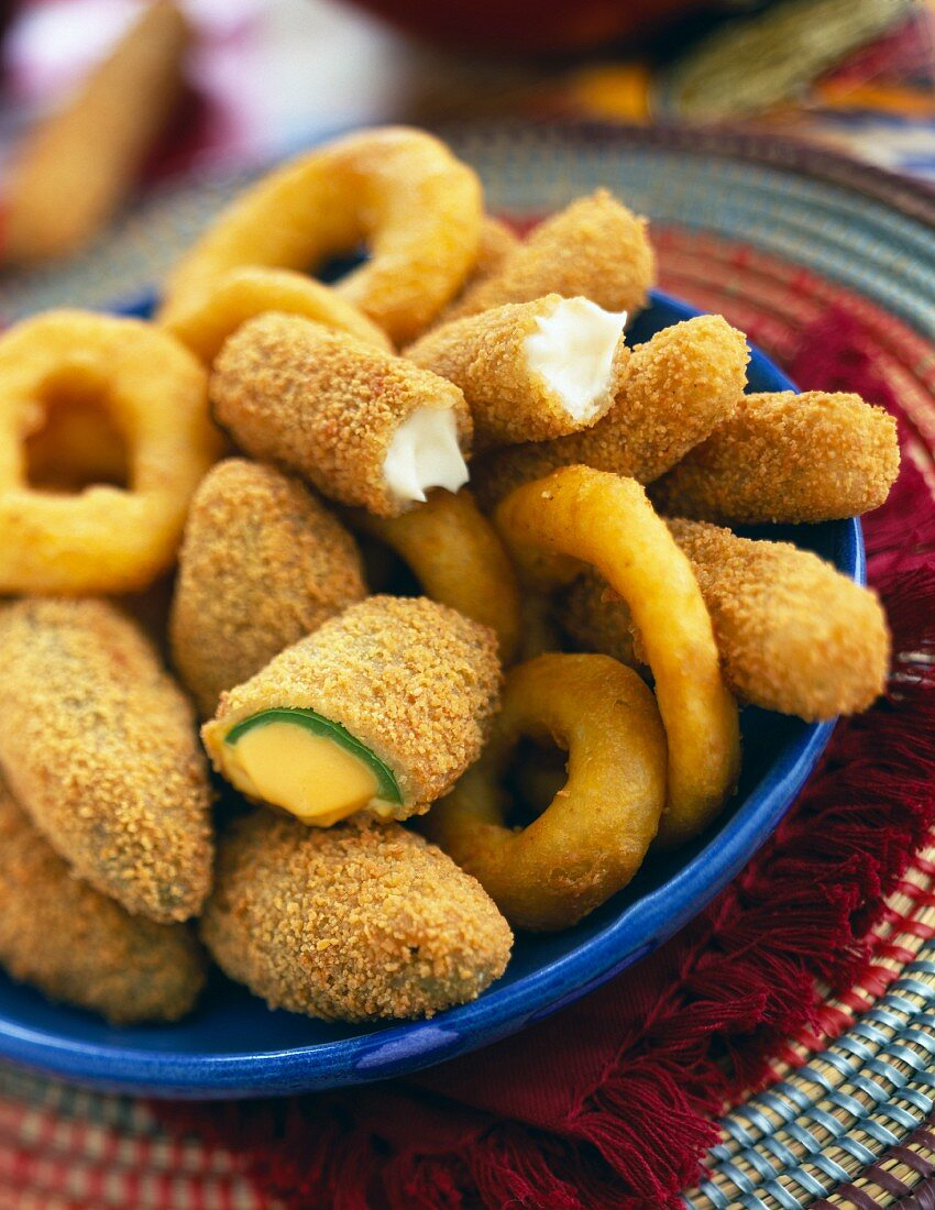 Calamary fritters and cheese fritters