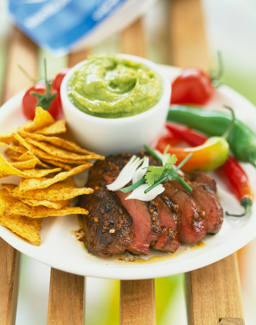 Mexican-style ostrich steak with guacamole