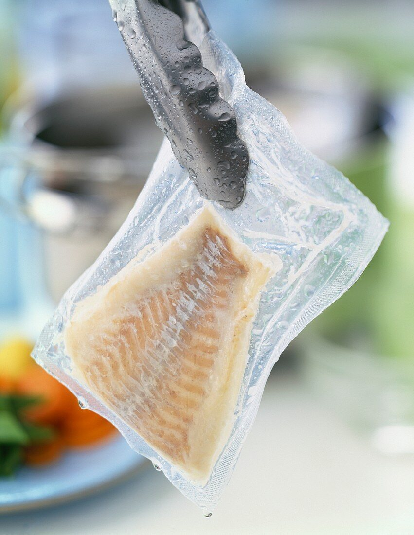 Cooked vacuum-packed haddock fillet