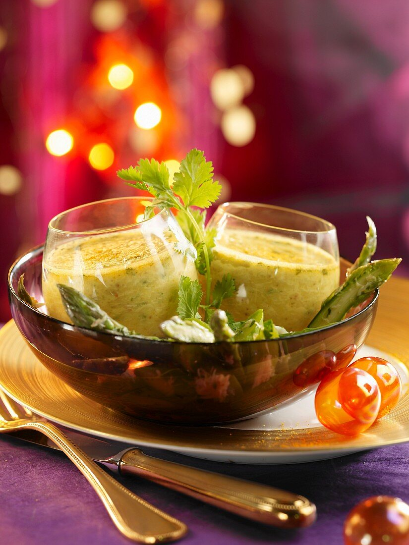 Crab and curry Flan with asparagus salad