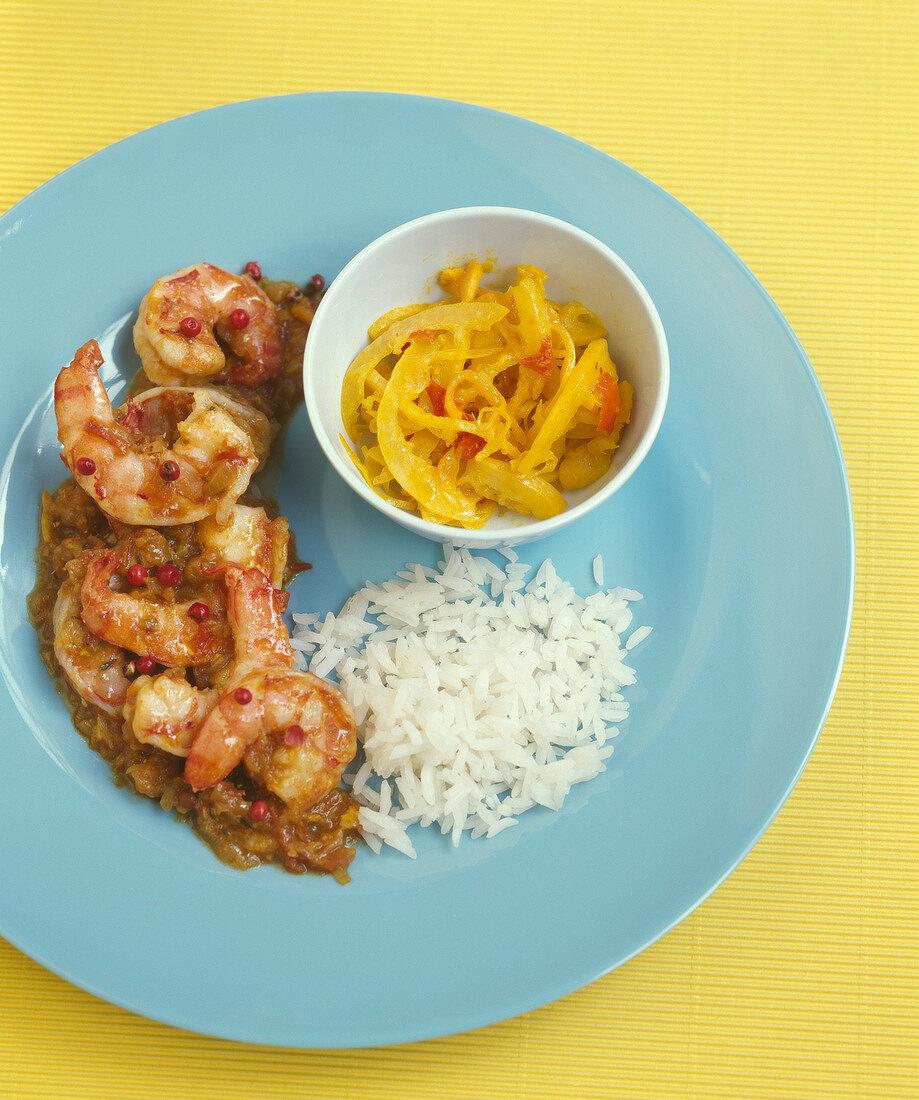 Shrimp and pink peppercorn Cari,rice and lemon Achar