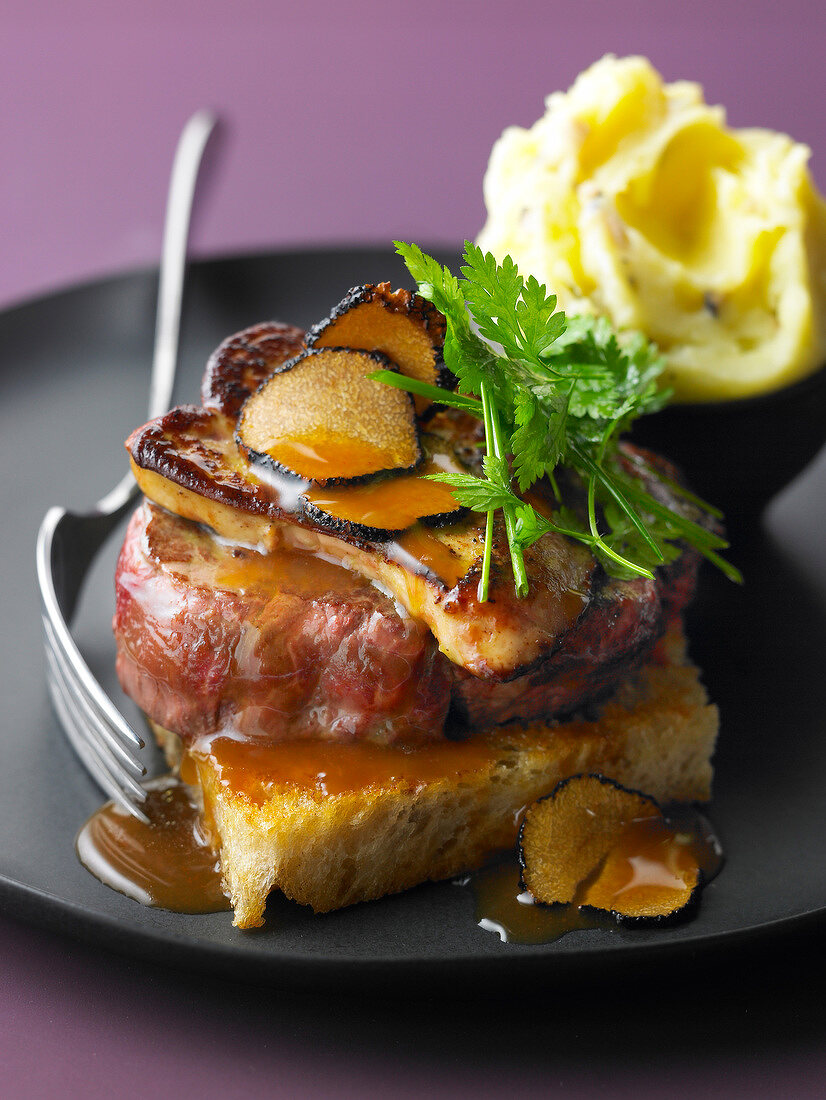 Tournedos Rossini,mashed Ratte potatoes with truffles and foie gras gravy