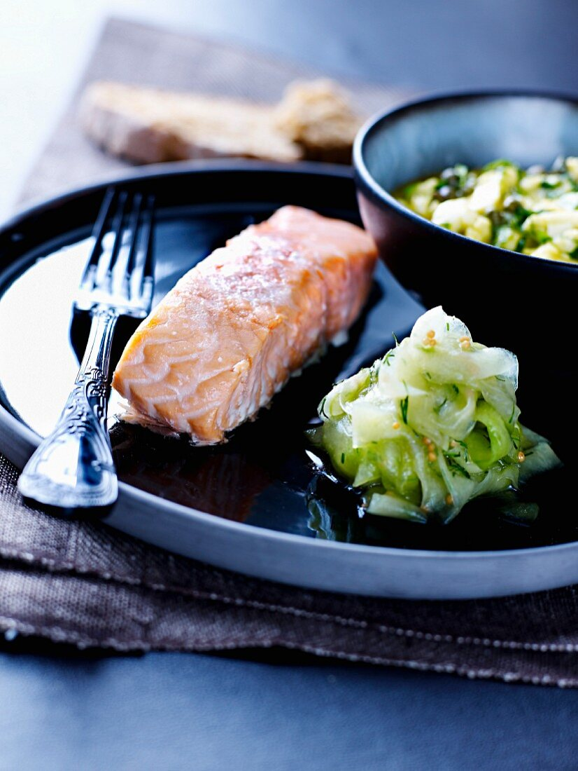 Roast salmon with soft-boiled egg, capers and sorrel, pickled cucumber