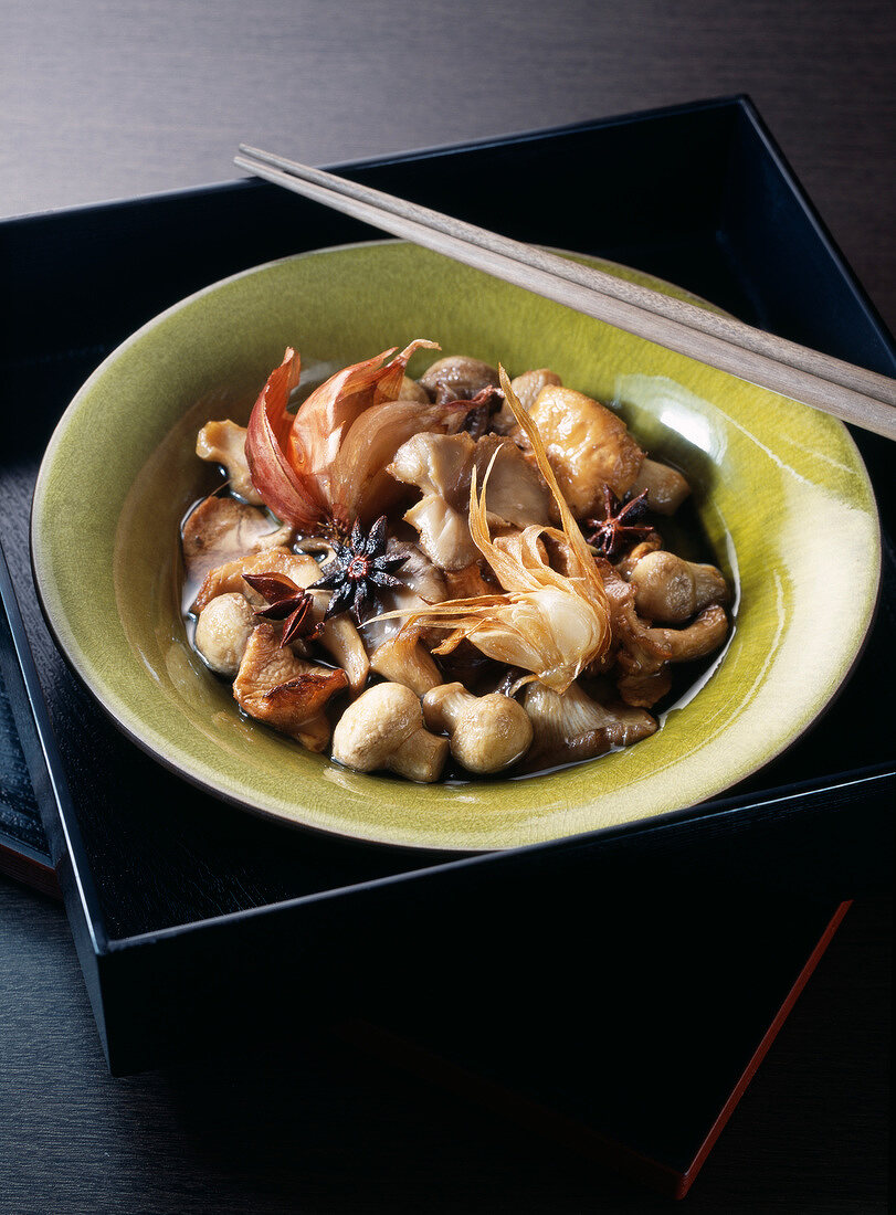 Mushrooms marinated with star anise