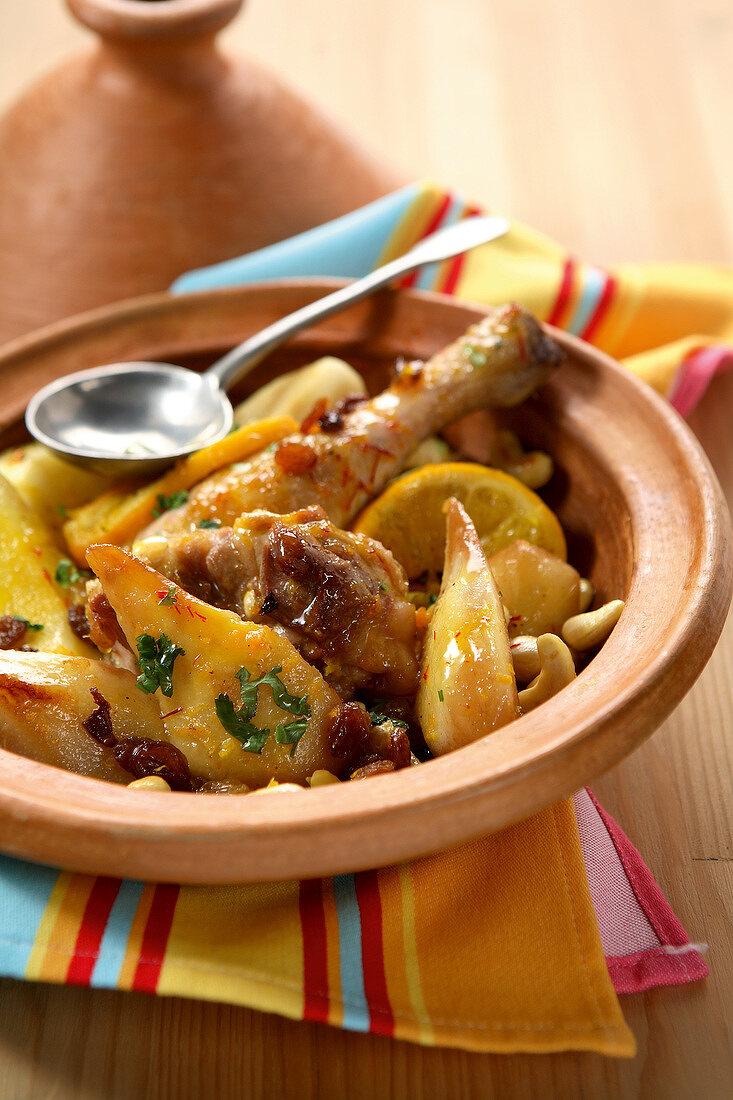 Chicken,lemon,pear and dried fruit Tajine