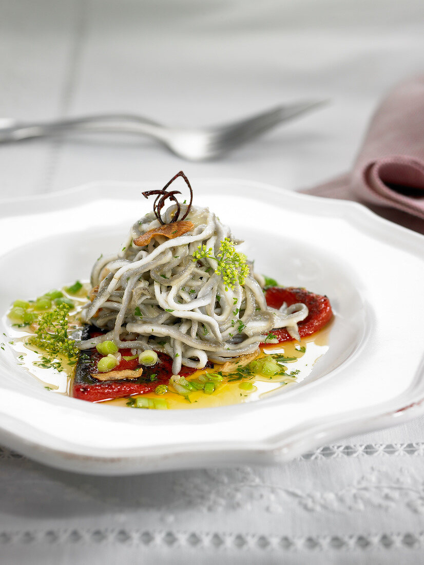 Elver, red pepper, pea and parsley salad