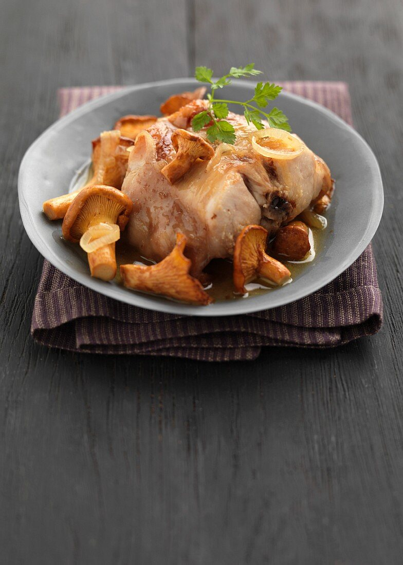 Saddle of rabbit with chanterelles
