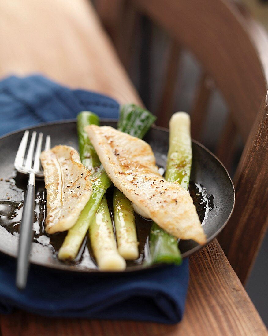 Sole fillets with leeks