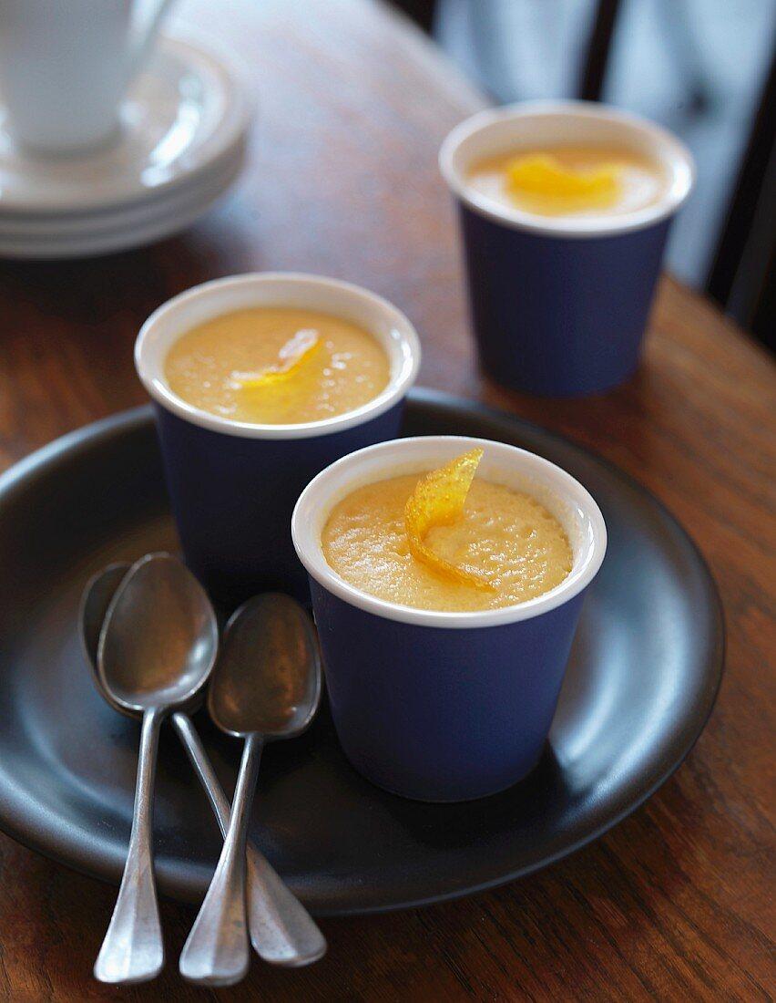 Lemon baked egg custard