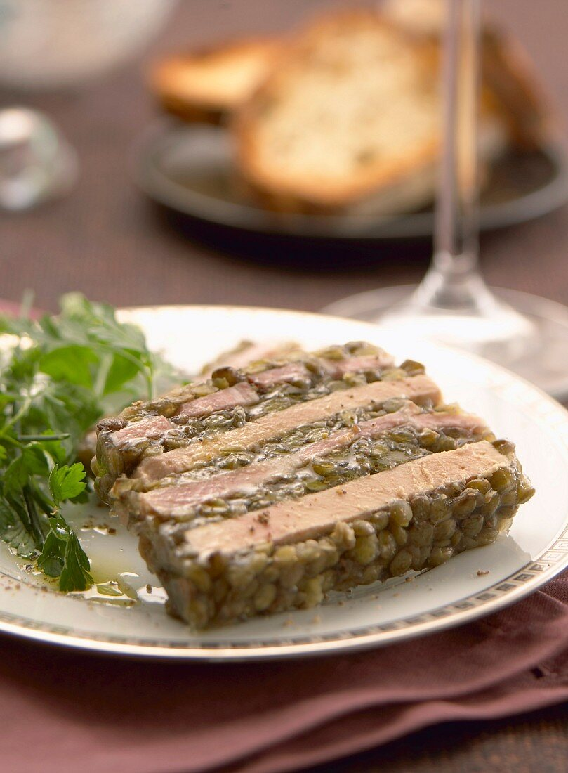 Foie gras and lentil terrine