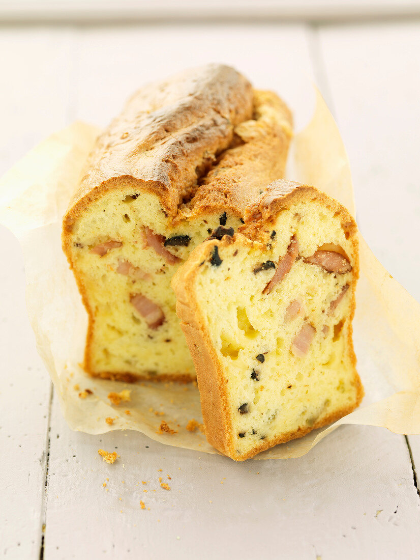 Olive and diced bacon savoury loaf cake