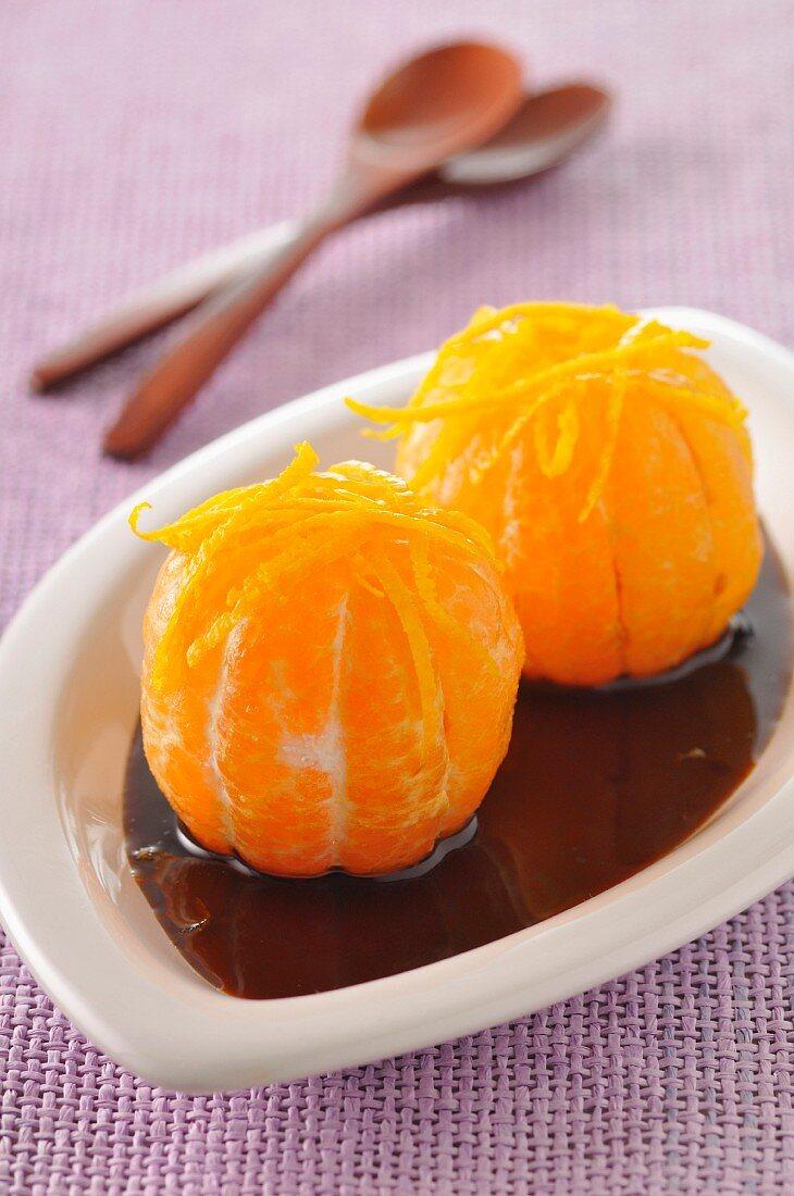 Mandarins in caramel sauce