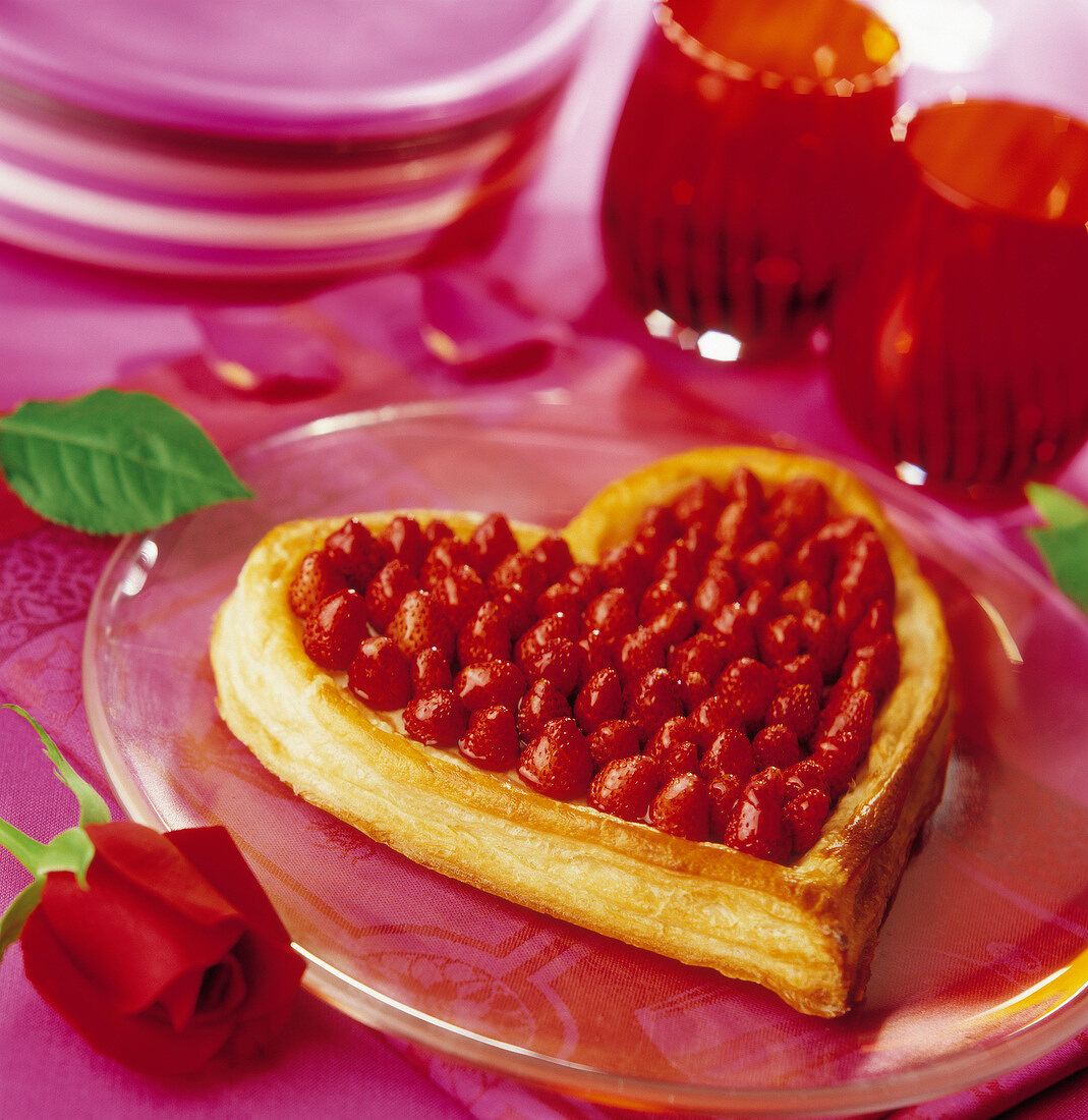 Heart-shaped strawberry flaky pastry tart