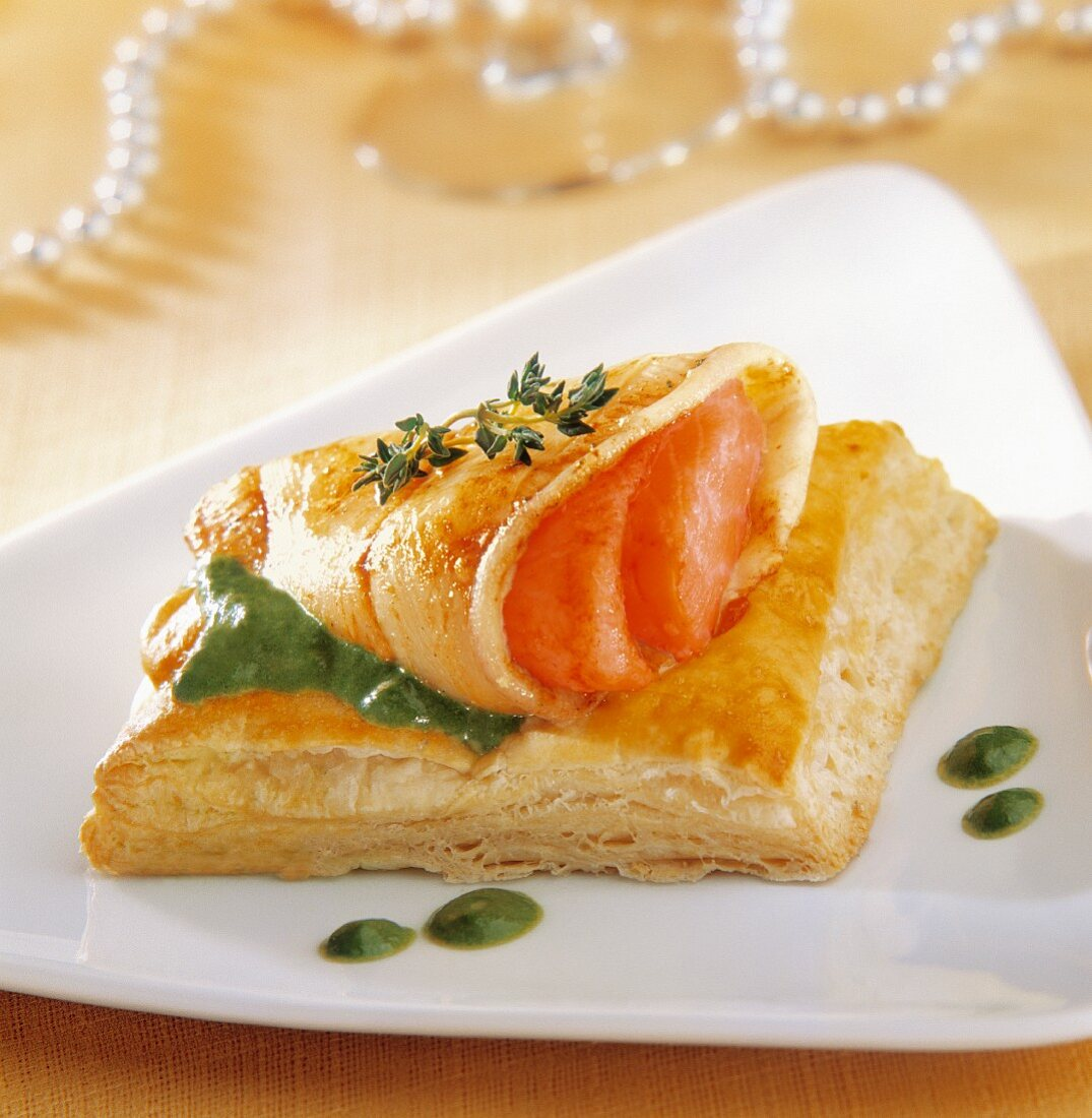 Squid stuffed with smoked salmon on flaky pastry