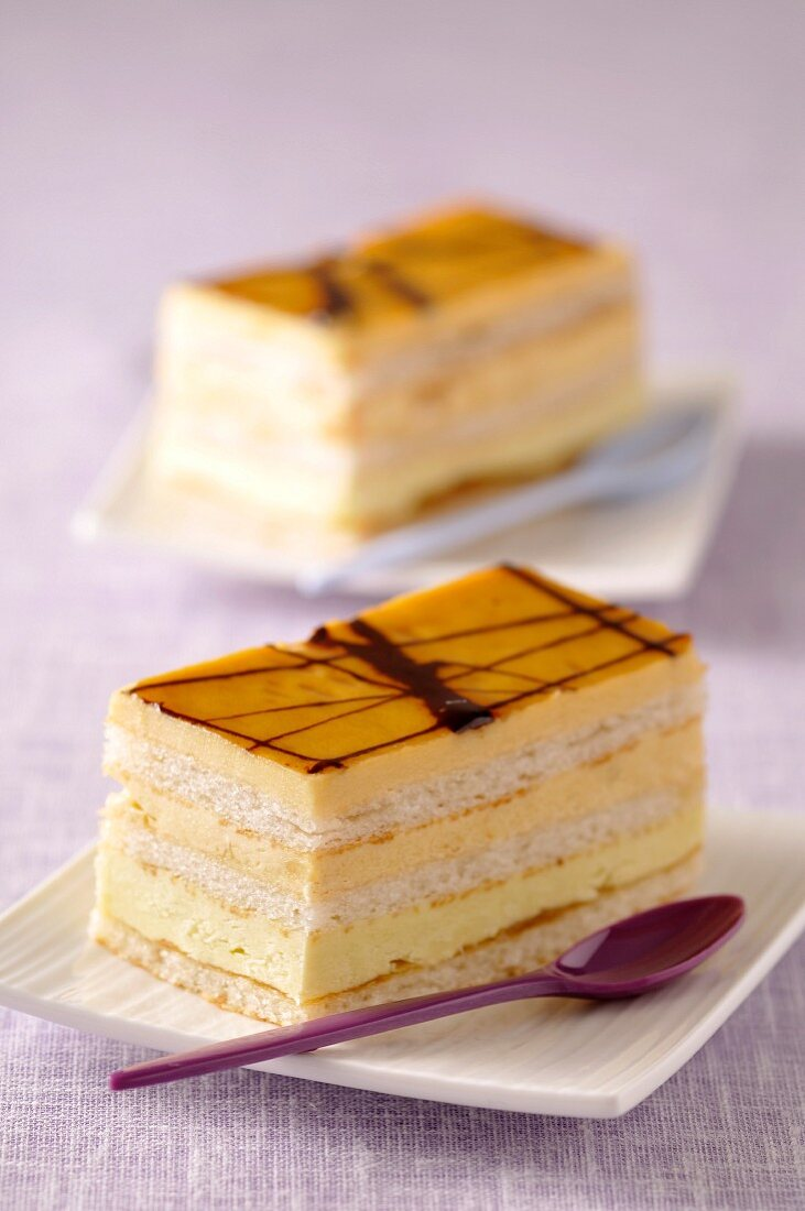 Portions of apricot cream and sponge cake