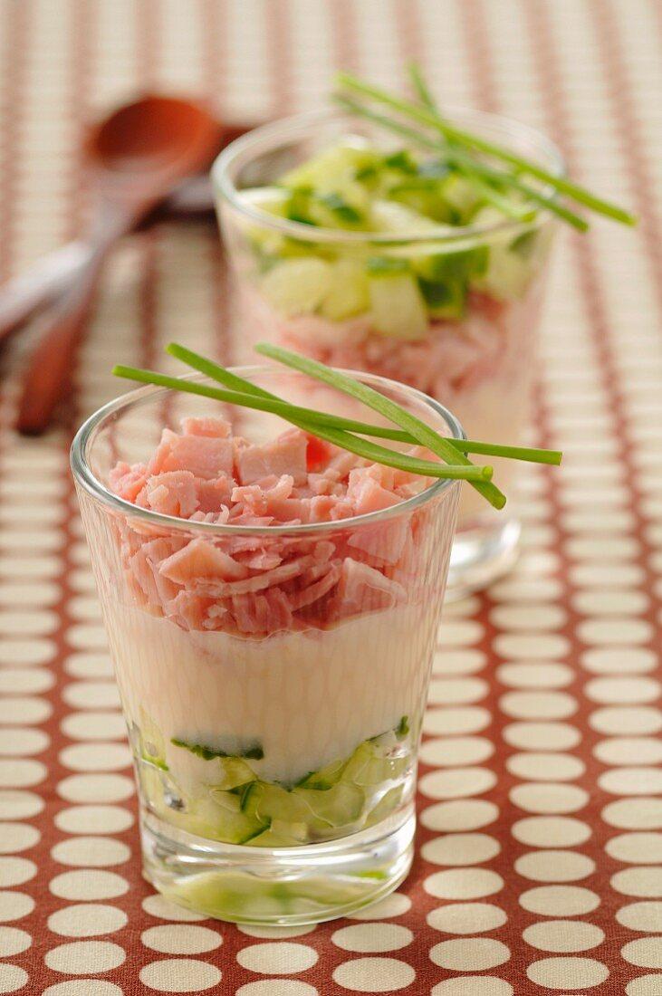 Vache qui rit,ham and cucumber Verrines