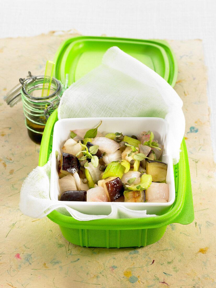 Eggplant, celery stalk and onion salad