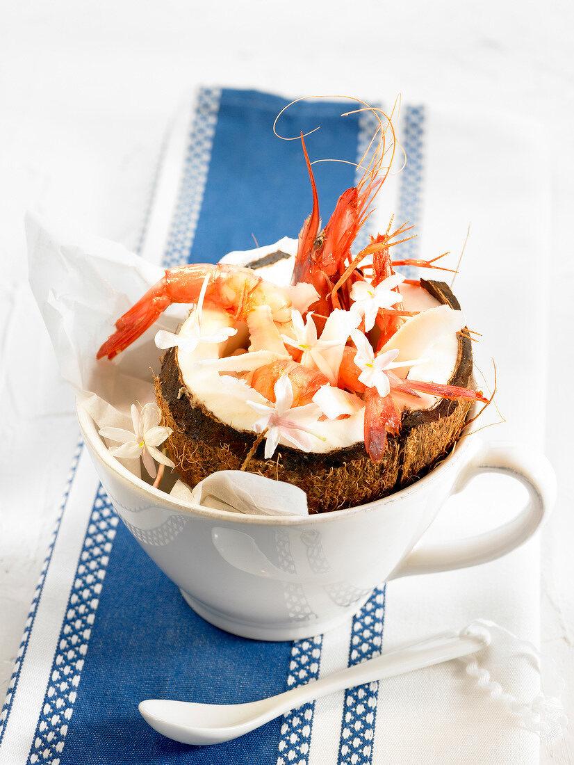 Gambas with coconut milk and jasmin