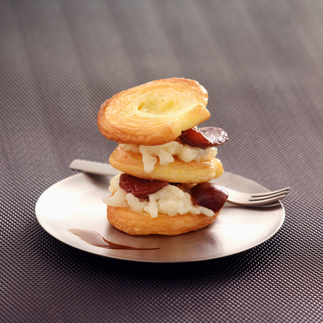 Arlette flaky biscuit ,rice pudding and cherry Mille-feuille