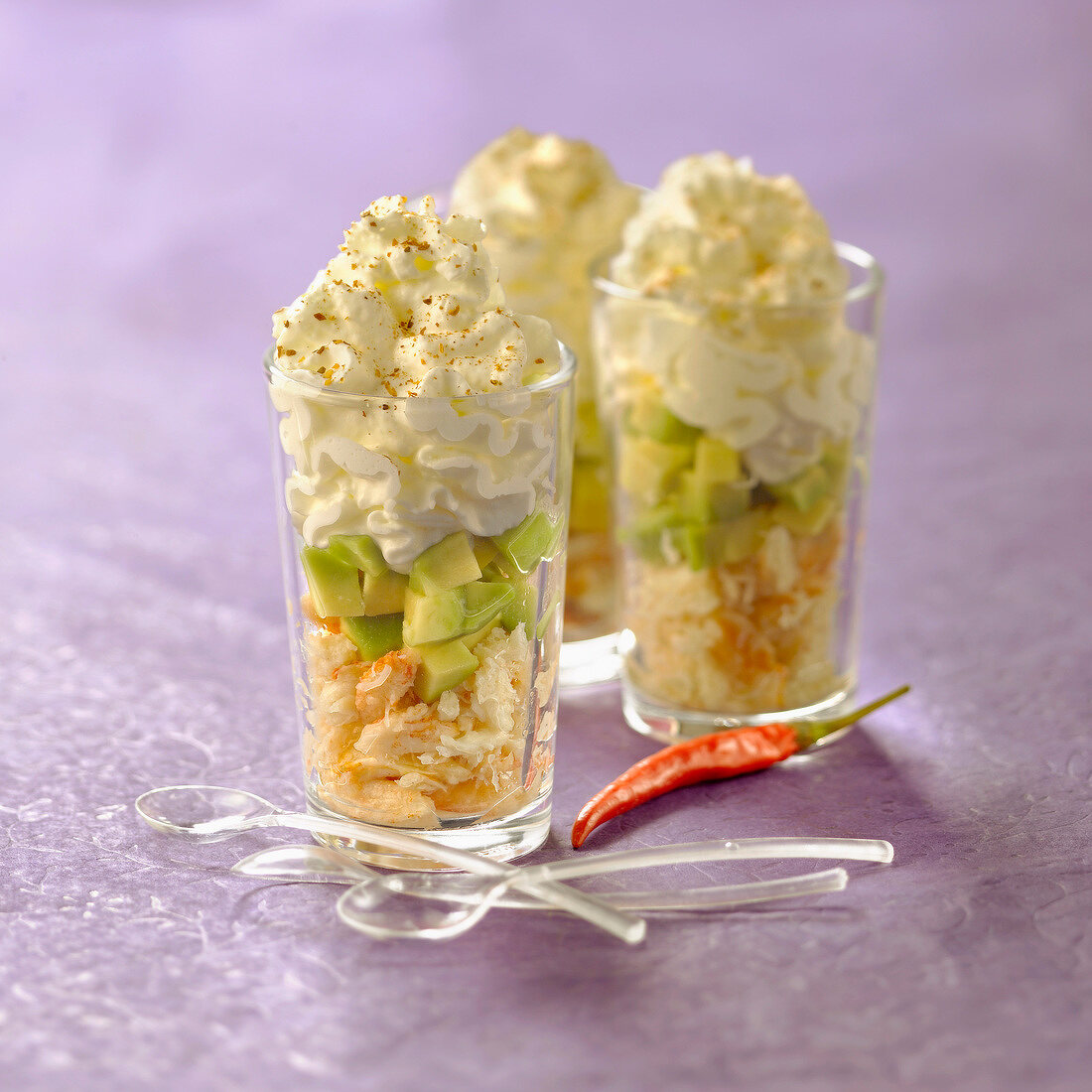 Avocado,crab and whipped cream with Cayenne pepper