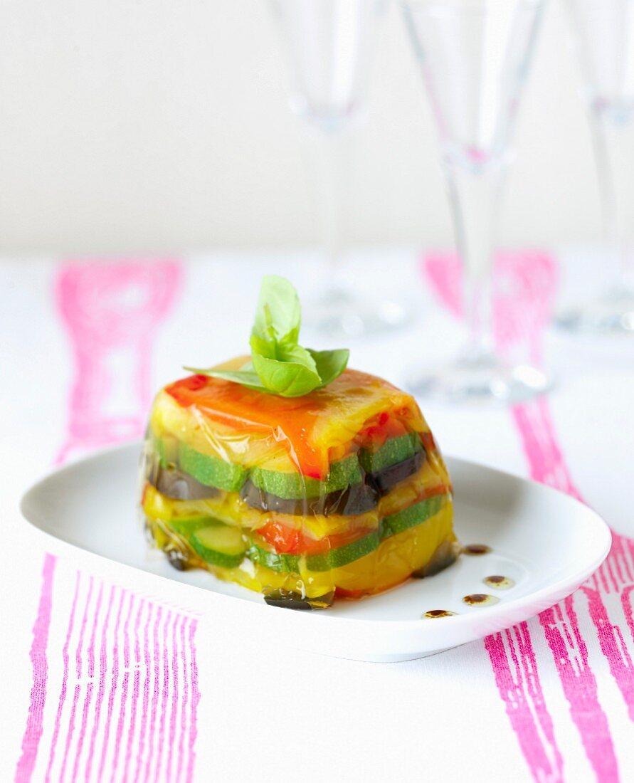 Grilled vegetables in aspic