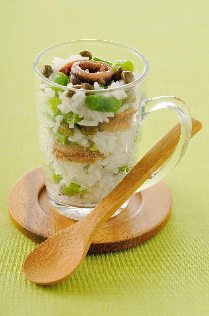 Basmati rice,green bean and anchovy salad