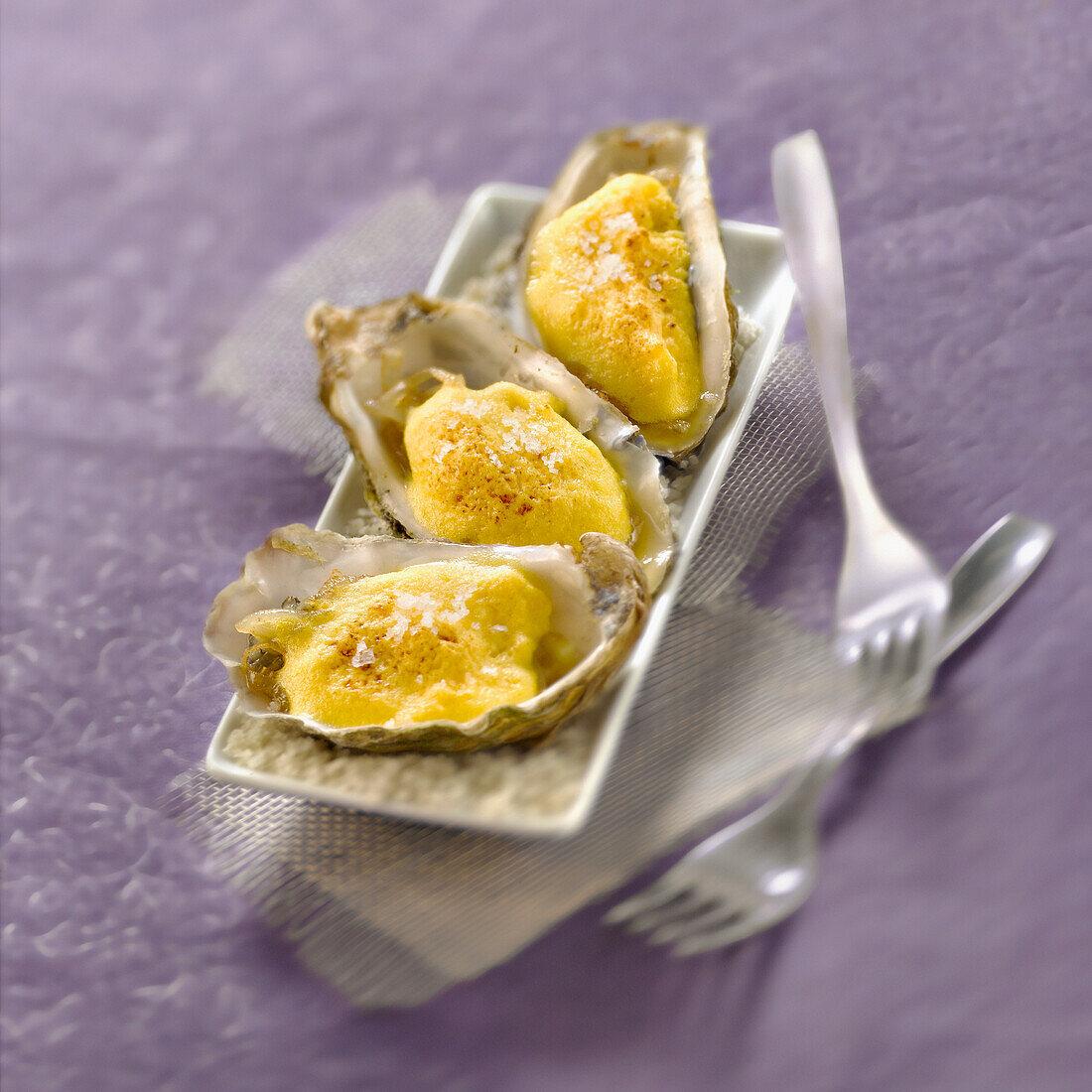 Oyster and Champagne Crème brûlée