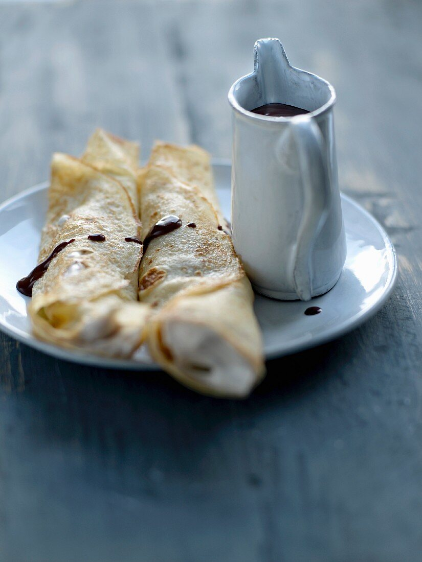 Rolled pancakes filled with chestnut cream and chocolate