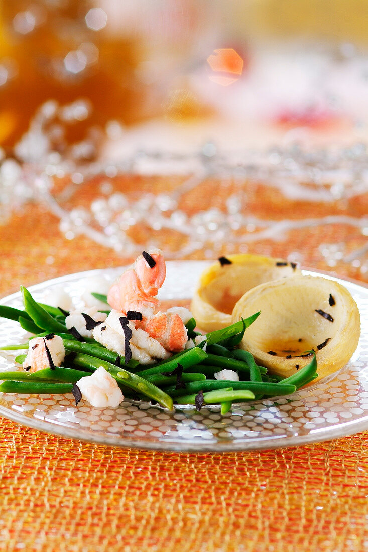 Green bean,Dublin Bay prawn and artichoke salad with truffle french dressing