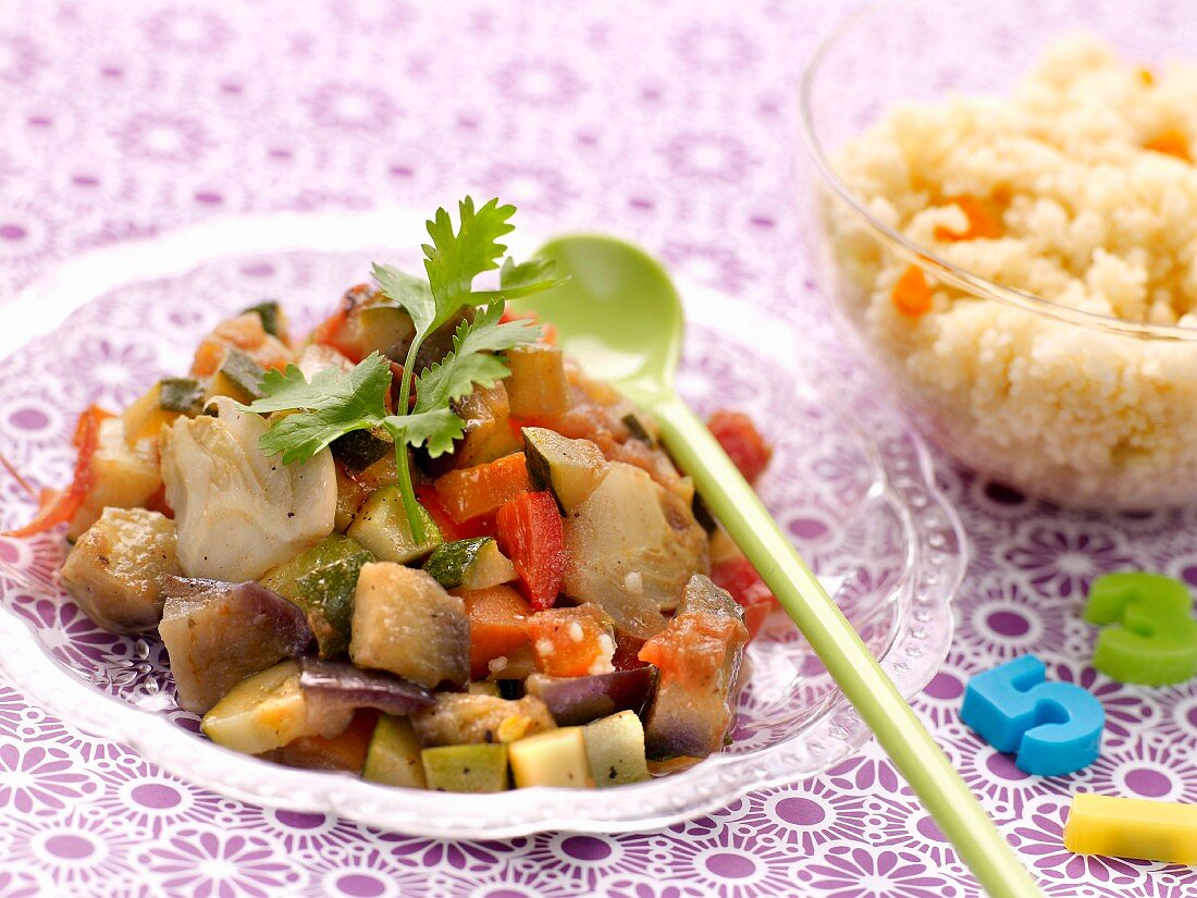 Oriental-style vegetable Tajine with orange-flavored semolina