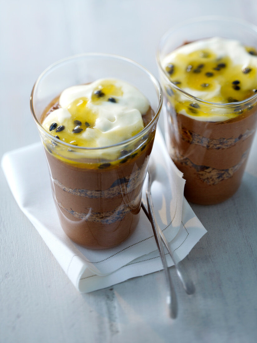 Chocolate and passion fruit mousse