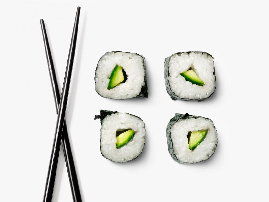 Cucumber makis and chopsticks
