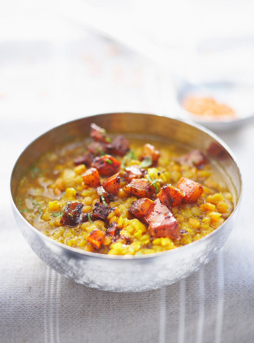 Yellow lentil Dal with carrots