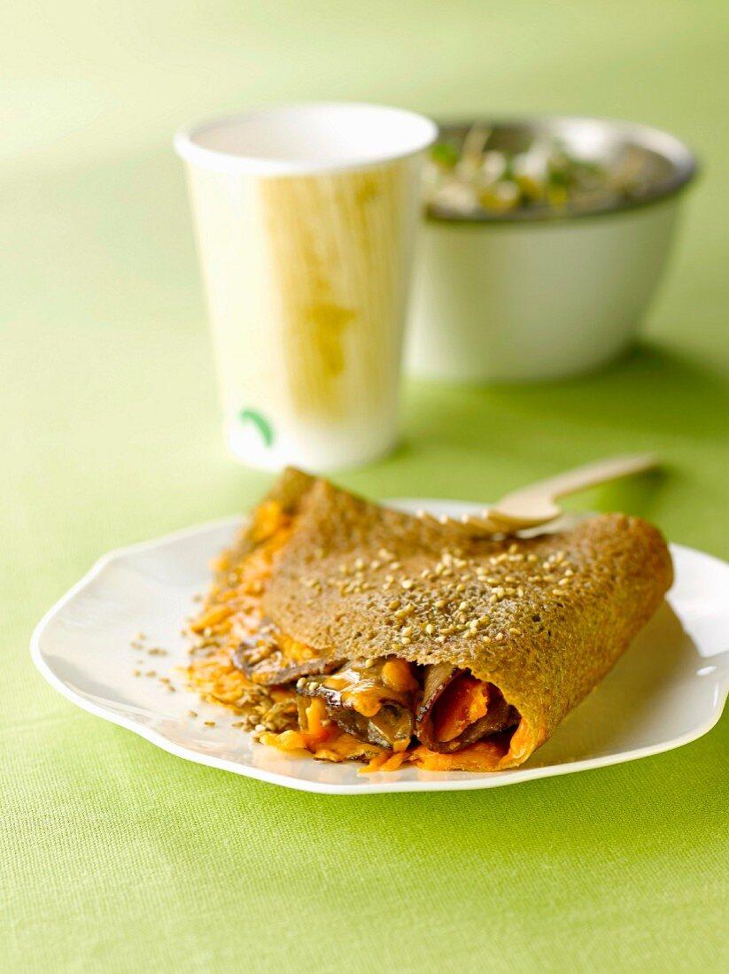 Beef,mimolette and sesame seed buckwheat pancake