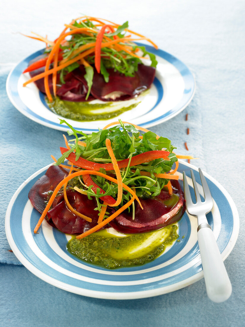 Beetroot raviolis with cheese filling