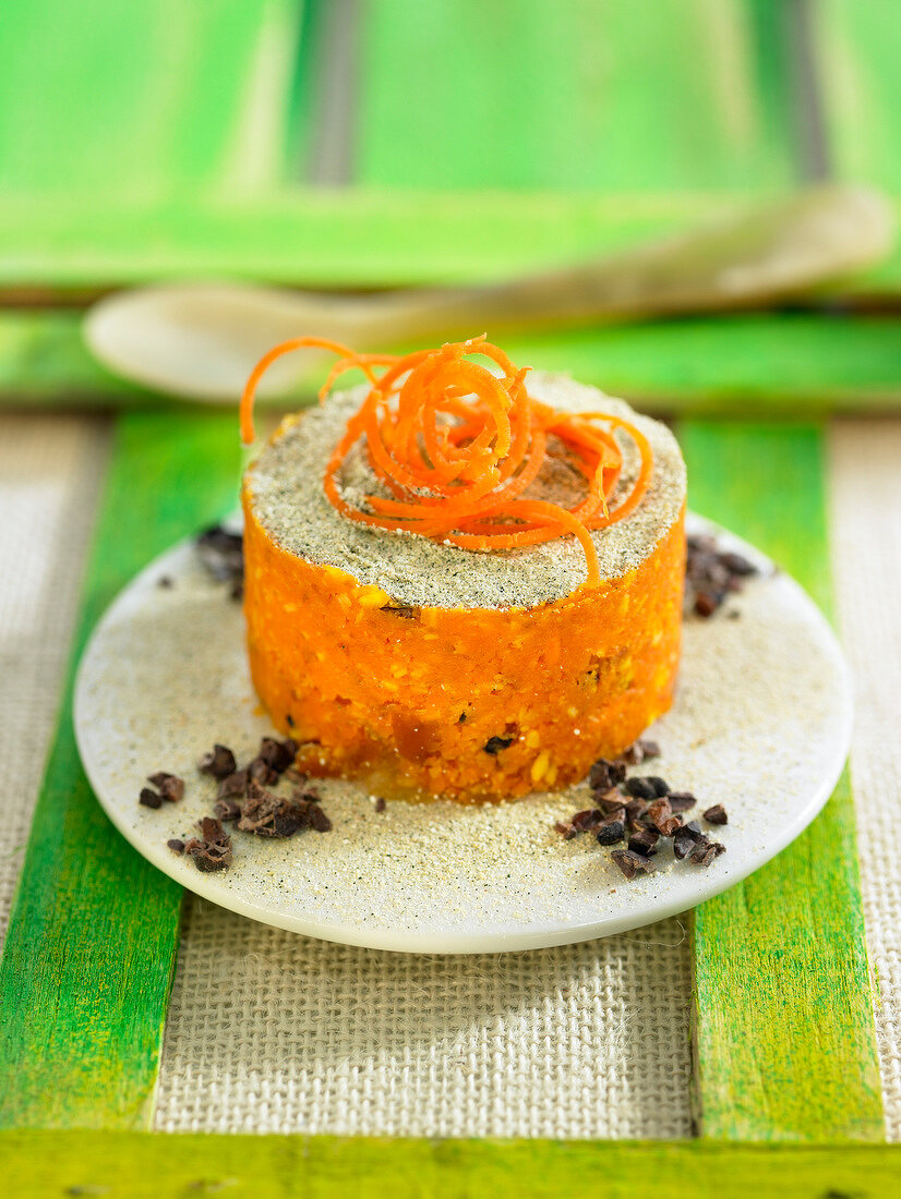 Carrot, date, coconut and crushed cocoa bean cake